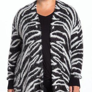 SUSINA Animal Print Eyelash Knit Cardigan Size 2X